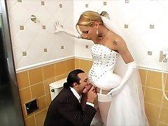 T-girl Bride Boinks Best Man Before Wedding