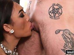 TS pornographic star Venus Lux fucks pervert male in his snatch
