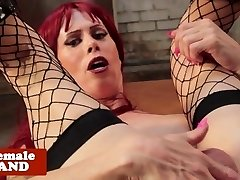 Red-haired tgirl tugged and porked by machine