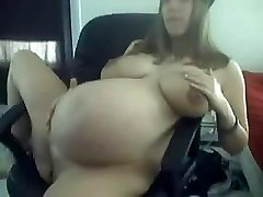 junior 9 Months Prego In Black Undies Teasing on Webcam