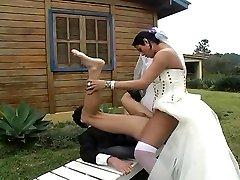 Hot shemale bride fucks fresh hubby