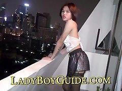Girly Man Thai Ladyboy In The Bathroom