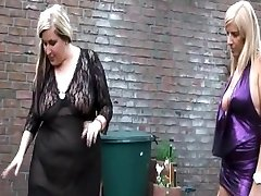 2 women and 1 shemale giving it to sub man