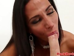 Trans mistress cumdrops while arse pleasured