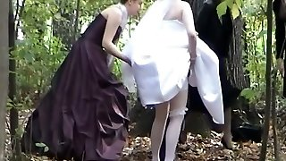 A jewel among spycam videos with a bride pissing in the woods