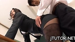 Hot teacher gets linked up and her moist gash toyed with