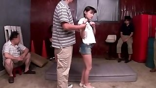 Lil' Japanese babe squirts all over self