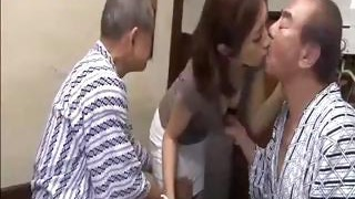 Youthful Chinese daughter serves father and his friend then gives him a bath