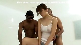 Crazy Japanese model Azumi Harusaki in Amazing Handjobs, Interracial JAV clip