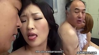 2 Asian wives get fucked and facialized side by side