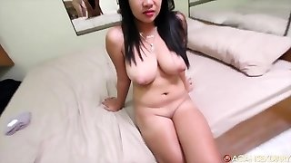Round Asian gets fucked hard by white tourists knob