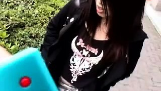 Cute emo woman public POV blowjob