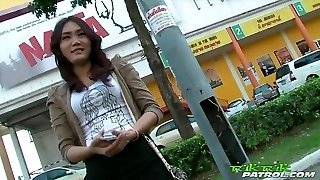 Sexy Shy Thai Girl Blessed To Take On Big White Cock