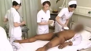 Asian nurses drain black man sausage