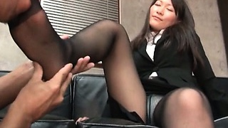 Appealing asian secretary stripped and teased by her naughty boss