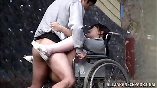 Horny Japanese nurse deepthroats man meat in front of a voyeur
