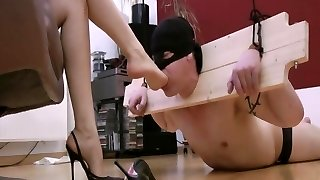 Downright slave of her feet