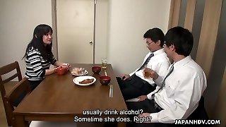Too tired spouse falls asleep while his colleague plumbs his wifey Risa Kurokawa