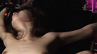 Sexy girl is tied up and fucked by good-sized machine