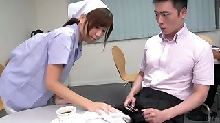 Cute Japanese maid demonstrates her massive udders while sucking two dicks (FMM)