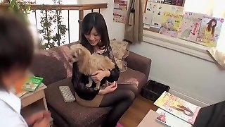 Oiled Asian darling prefers getting pawed by her mate