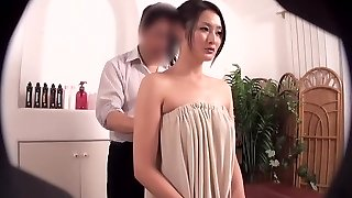 Oiled Japanese darling prefers getting massaged by her buddy