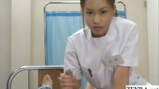 Subtitled POV Japanese nurse hand-job hospital education