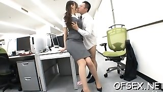 Tempting office bitch lures her colleague on work