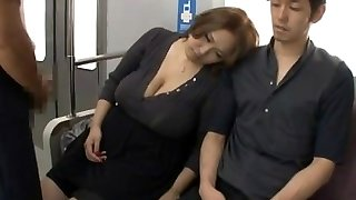 Hefty tits asian torn up on train by two guys