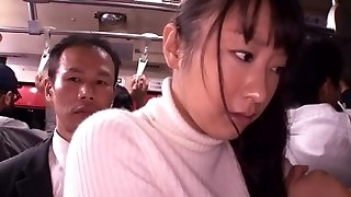 Chinese bi-atch gets crammed in a crowded public bus