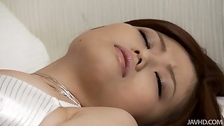 Beautiful Asian angel Nao tries to sate her twat with fingers