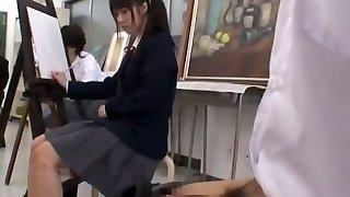 Mischievous Japanese chick Nozomi Aiuchi, Satomi Kirihara, Arisa Nakano in Exotic College/Gakuseifuku JAV tweak