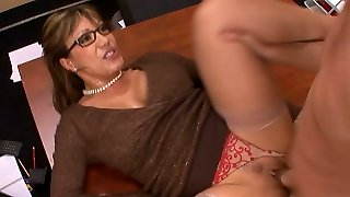 Kinky mature teacher gets her poon licked and plumbed on the table