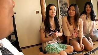 Huge-chested Housewifes Team Up On One Guy And Fap Him Off