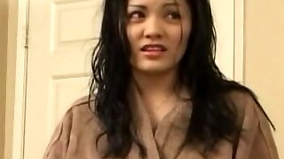 nice asian unexperienced is giving a hot blowjob