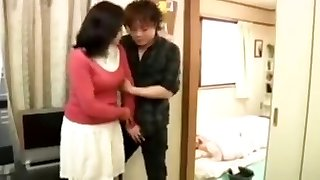 Japanese granny gets a creampie