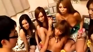 Well tanned japanese teenage honies engaged in group sex orgy