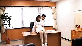 Unwrapped nurse enjoys other gal licking her asian slit