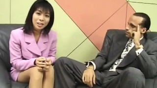 Petite Asian reporter swallows jizz for an interview