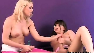 Frisky teenies plow the biggest strapon faux-cocks and spray jiz