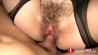Asian chick in ripped pantyhose Kazumi Nanase guzzles manhood and penetrates in different positions