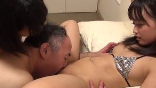 Asian Girls Teenies treesome with old man