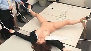 Super-cute asian office honey gets tied to the table and fucked