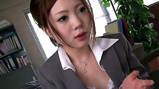 4 horny studs mouth fuck one timid Asian assistant in the office hard