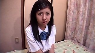 Asian school gal finger pummel and riding her man's hard manmeat