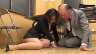 Japanese MILF ass pawed in the office! her elder boss wants some fresh pussy
