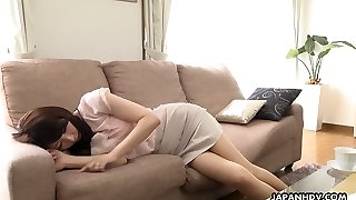 Lovely Japanese cutie Noeru Mitsushima is well-prepped to give a Deep Throat during conversation