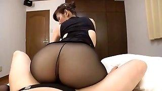 Japanese mature black pantyhose bang-out