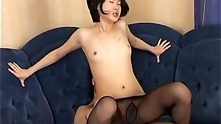 Asian babe gets cum on pantyhose