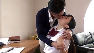 Japanese school cutie lures her tutor and sucks his delicious sausage in 69 pose